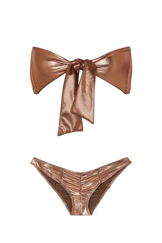 Poppy Ruched Knotted Metallic Bikini