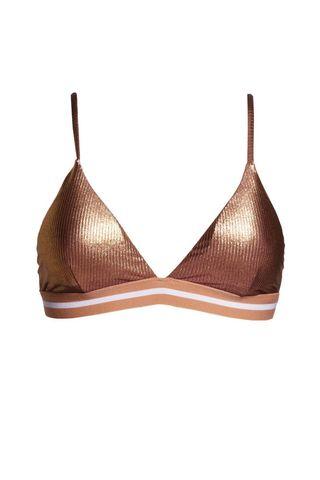 Metallic Ribbed Triangle Bikini Top