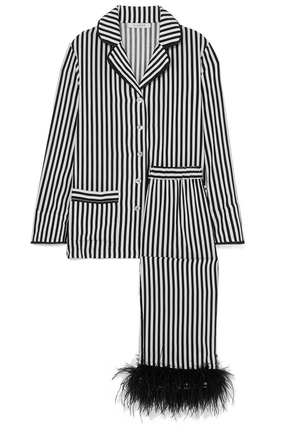Feather-Trimmed Striped Pajama Set