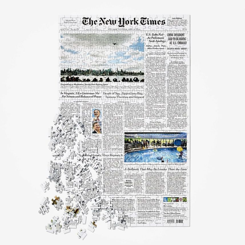 Front Page Puzzle nytimes.com $50.00 SHOP NOW Yes, this is a 500-piece NYT front page news puzzle. Select any day (from 1851) to celebrate a special day for Dad—anniversary, milestone or birthday—and watch it come to life.