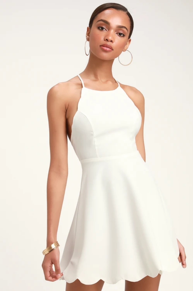 Play On Curves Ivory Backless Dress