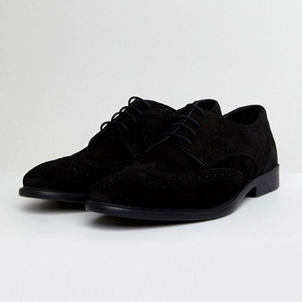Asos Derby Black Suede Brogue Shoes