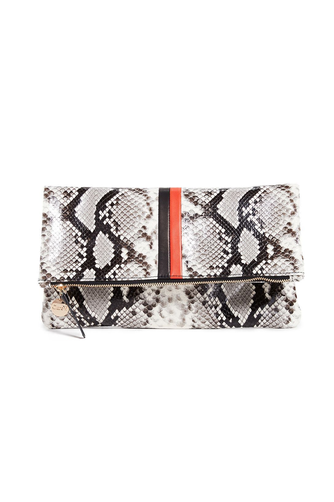 A Daytime/Nighttime Clutch Clare V. Shopbop $164.50 SHOP IT Give mom the semi-fancy clutch she's been missing from her wardrobe. This python printed accessory has black and orange stripes right down the middle for a funky, but still functional look.