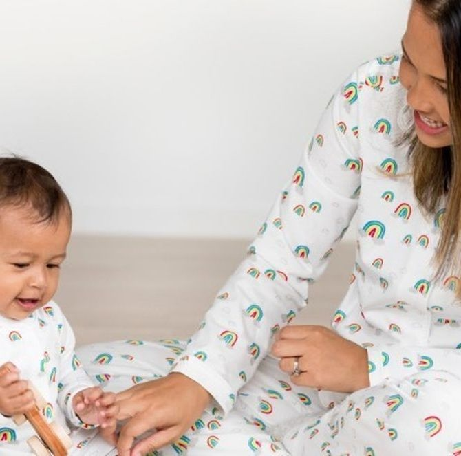 Mom And Baby Matching Rainbow Pajamas hannaandersson.com $33.60 SHOP NOW Fact: New moms spend a lot of time in their pajamas. Second fact: These Instagram-worthy mom and baby sleep sets from Hanna Anderson are guaranteed to put a smile on Mom's face, no matter how tired she may be.