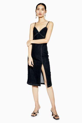 Stretch Denim Midi Dress