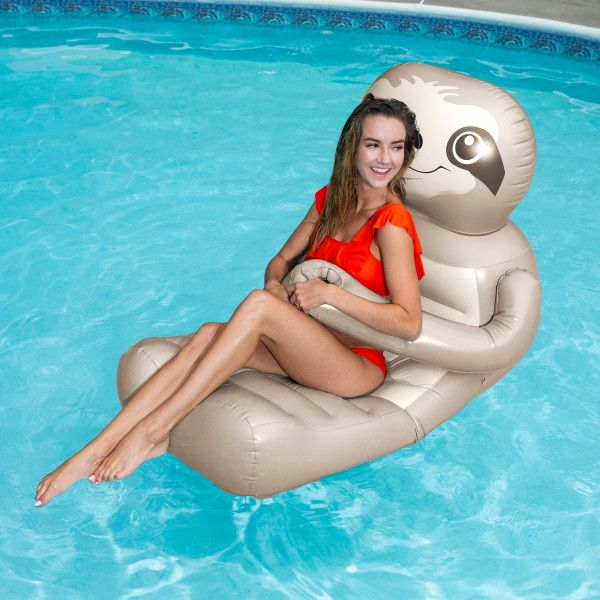 2 Person Inflatable Throne Island Mat Lounger Swimming Pool ...