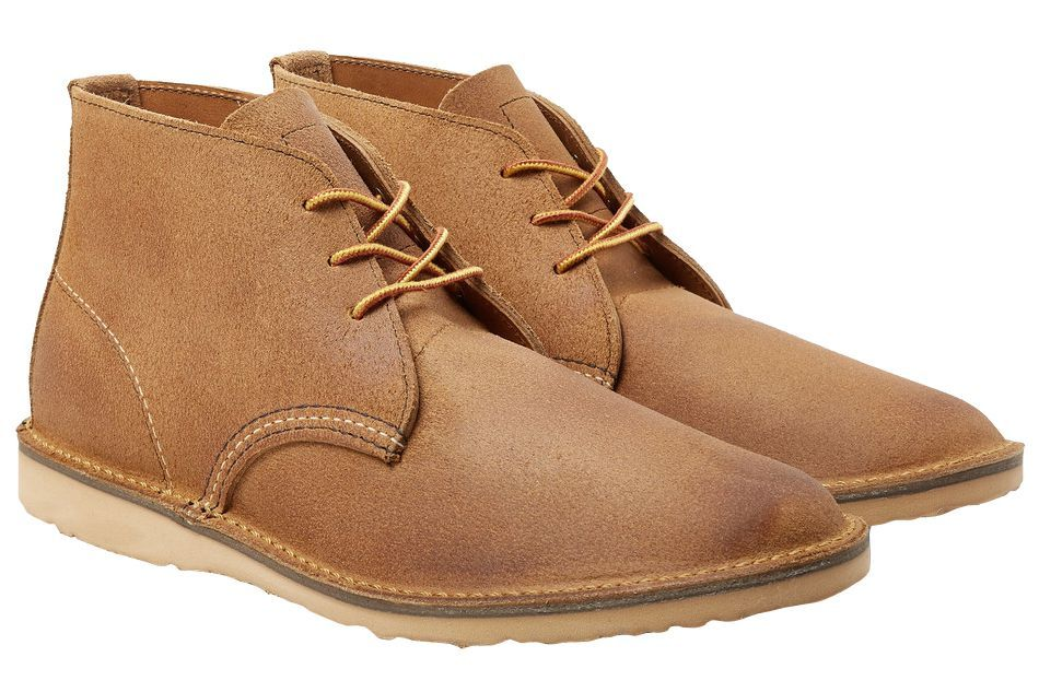 Red Wing Shoes Weekender Rough-Out Leather Chukka Boots mrporter.com $230.00 SHOP Pair them with distressed denim for a streamlined look.