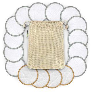 16 tampons de retrait en bambou avec sac à linge