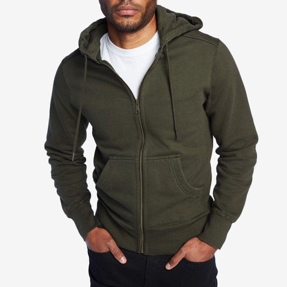 Men/'s Solid Full Zipper Hoodie Classic Hooded Sweatshirt Gym Jacket Coat Tops US