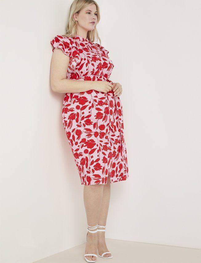 Ruffle Shoulder Midi Dress