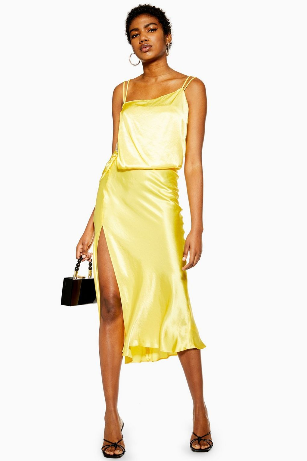 Yellow Embroidered Panel Satin Slip Dress
