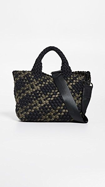"""St. Barths Mini Tote Naghedi shopbop.com $210.00 SHOP NOW """"As a huge animal lover, I'm always on the hunt for cruelty-free fashion. Thankfully, I found Naghedi, a vegan accessories line that makes fashionable handbags out of folded and woven neoprene. The bags are chic, durable and the perfect entree into the animal-friendly fashion space."""" - Amanda Hearst"""