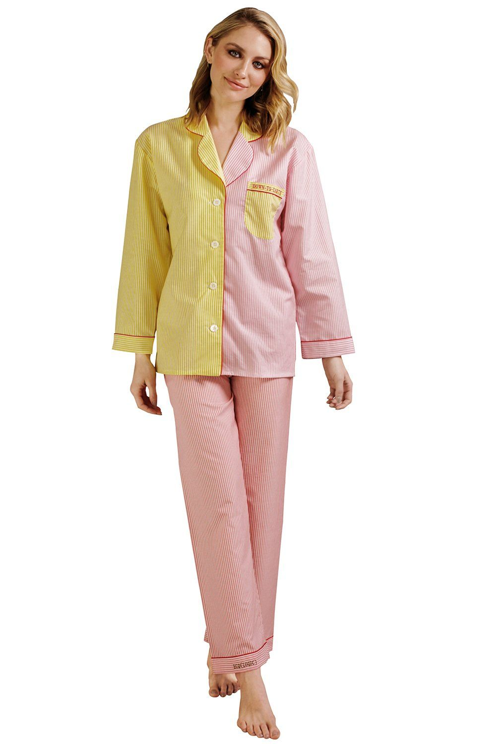 """Down-to-Earth Pajamas DOU.K maison-de-mode.com $72,000.00 SHOP NOW """"To celebrate Earth Day, my company MAISON DE MODE collaborated with DOU.K Studio on the cutest set of eco-friendly PJ's! This top-and-bottom set - which can also be worn separately as daywear - is made with OEKO-TEX 100 certified fabrics (aka natural and organic) and they are embroidered with """"ECO(LOGIC)"""" on the pant cuff and and """"DOWN-TO-EARTH"""" on the breast pocket. Talk about wearing your values!"""" - Amanda Hearst"""