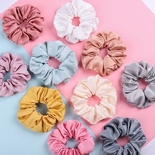 Satin Hair Scrunchies Set of 18