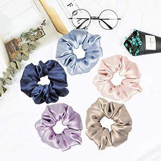 Silk Hair Scrunchies Set of 5