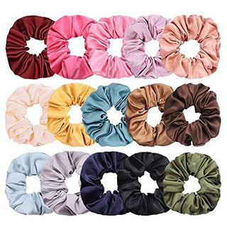 Satin Hair Scrunchies Set of 15