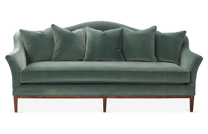 Stupendous Eloise Jade Velvet Camelback Sofa Machost Co Dining Chair Design Ideas Machostcouk