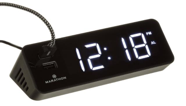 Marathon LED Alarm Clock & USB Charging Station