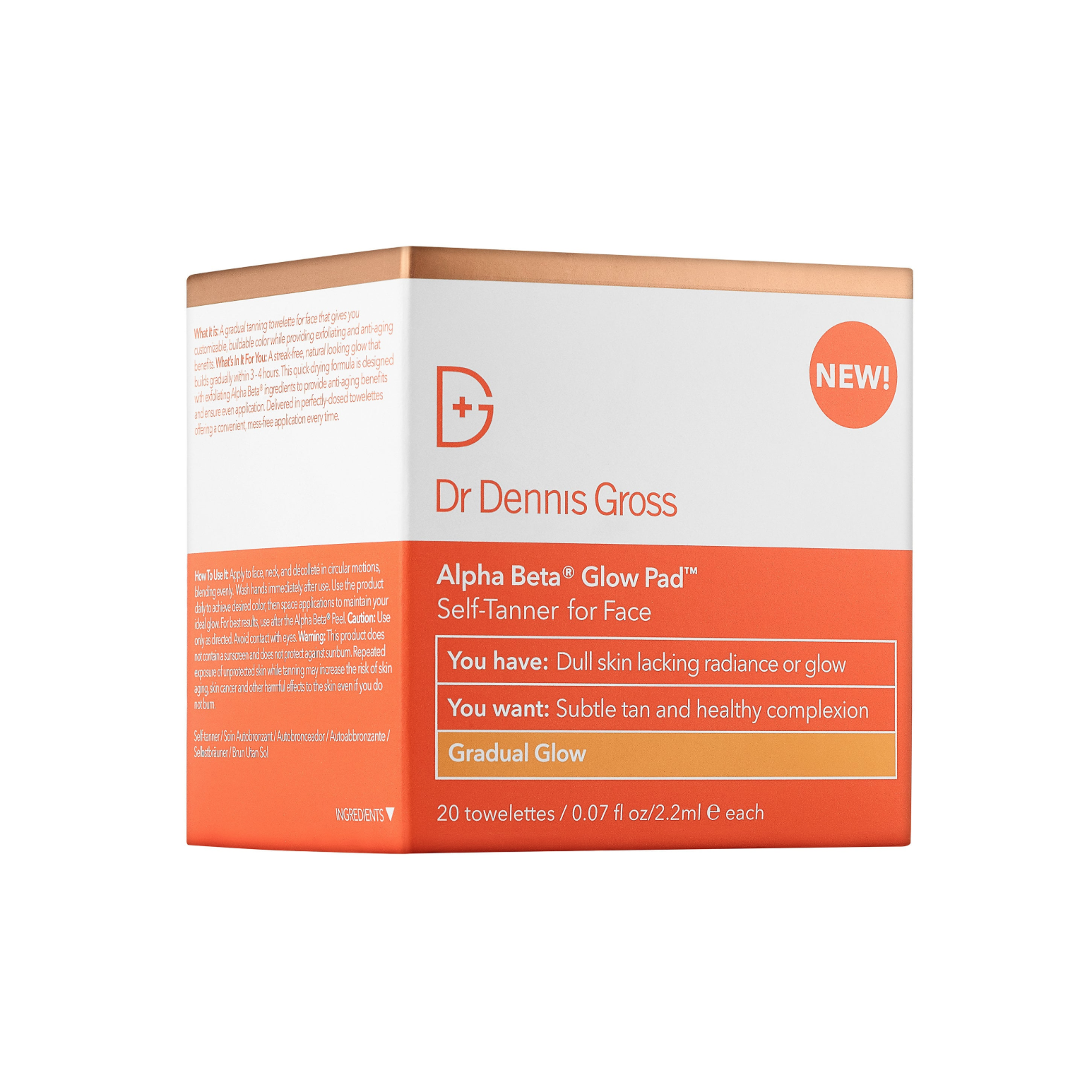 The Face Glow Alpha Beta Gradual Glow Pad Self-Tanner for Face Dr. Dennis Gross Skincare sephora.com $38.00 SHOP NOW Like semi-permanent bronzer, these convenient, quick-drying wipes gradually add color and glow to your face.