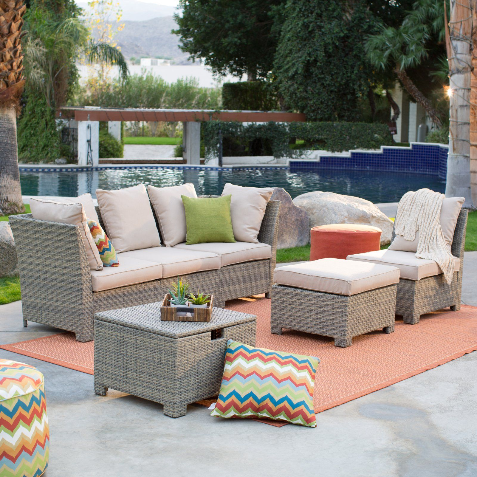 South Isle All Weather Wicker Natural Outdoor Furniture Set