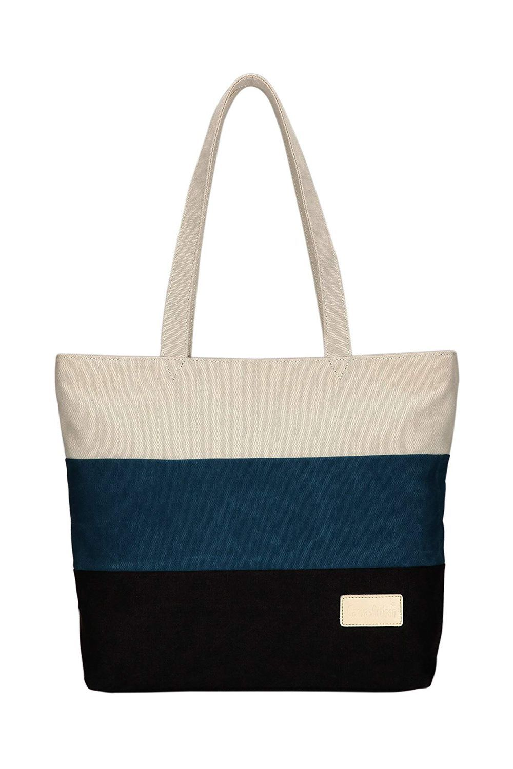 Best for Short Trips Canvas Shoulder Tote Bag ArcEnCiel $25.99 $18.98 (27% off) SHOP IT This canvas tote comes in three colors, though I like this white, navy, and black combination the best. It's lightweight, sturdy, and can be rolled up and packed into a suitcase, unlike leather totes.