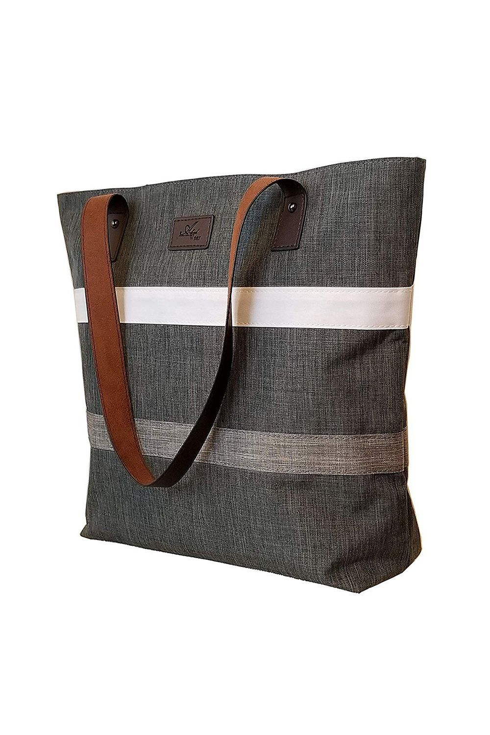 Best for Working Remotely Work Tote Bag Aleah Wear $20.97 SHOP IT Unlike the previous canvas tote, this one has a gray background with white and gray stripes. The tonal color makes it easy to match with clothing and because of the hue, makes it a suitable summer work bag.