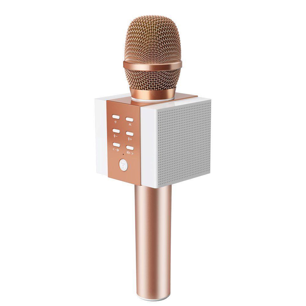 2019 Update Louder Volume Karaoke Player,Portable Handheld Double Speaker Mic Machine LED Lights Music Playing Singing and Recording Rose Gold Wireless Bluetooth Karaoke Microphone