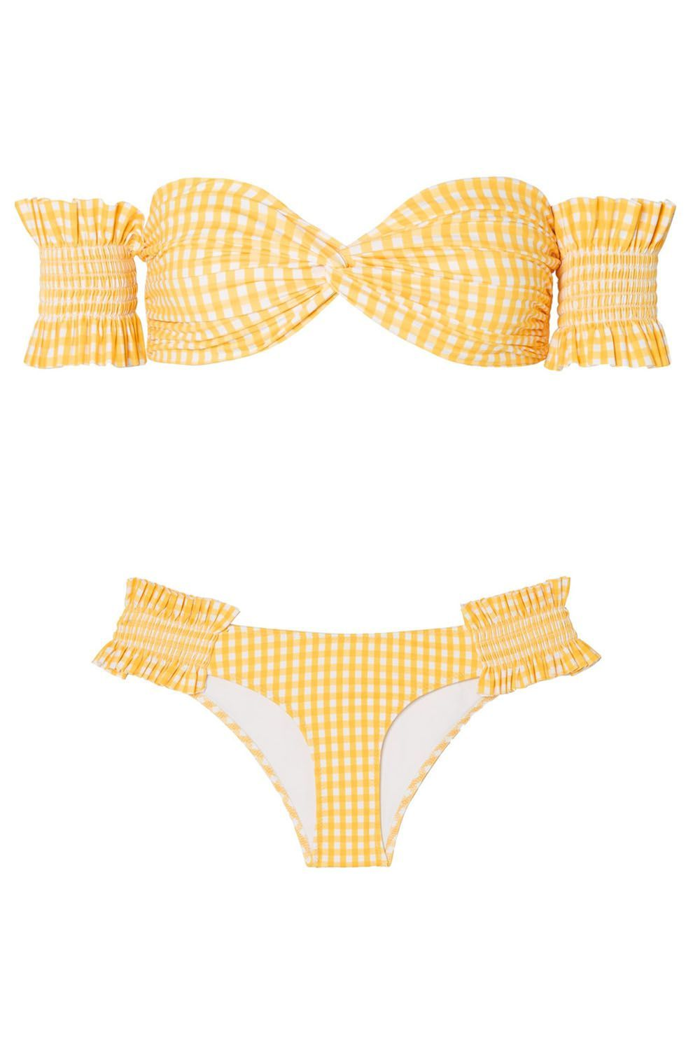Best for Embracing Summer Yellow Gingham Bikini Caroline Constas net-a-porter.com $315.00 SHOP IT This off-the-shoulder gingham print bikini is for the gal who loves to sit out by the pool while sipping an aperol spritz. Physical exertion is out the picture because she's on vacation and all she wants to do is lay out and tan.