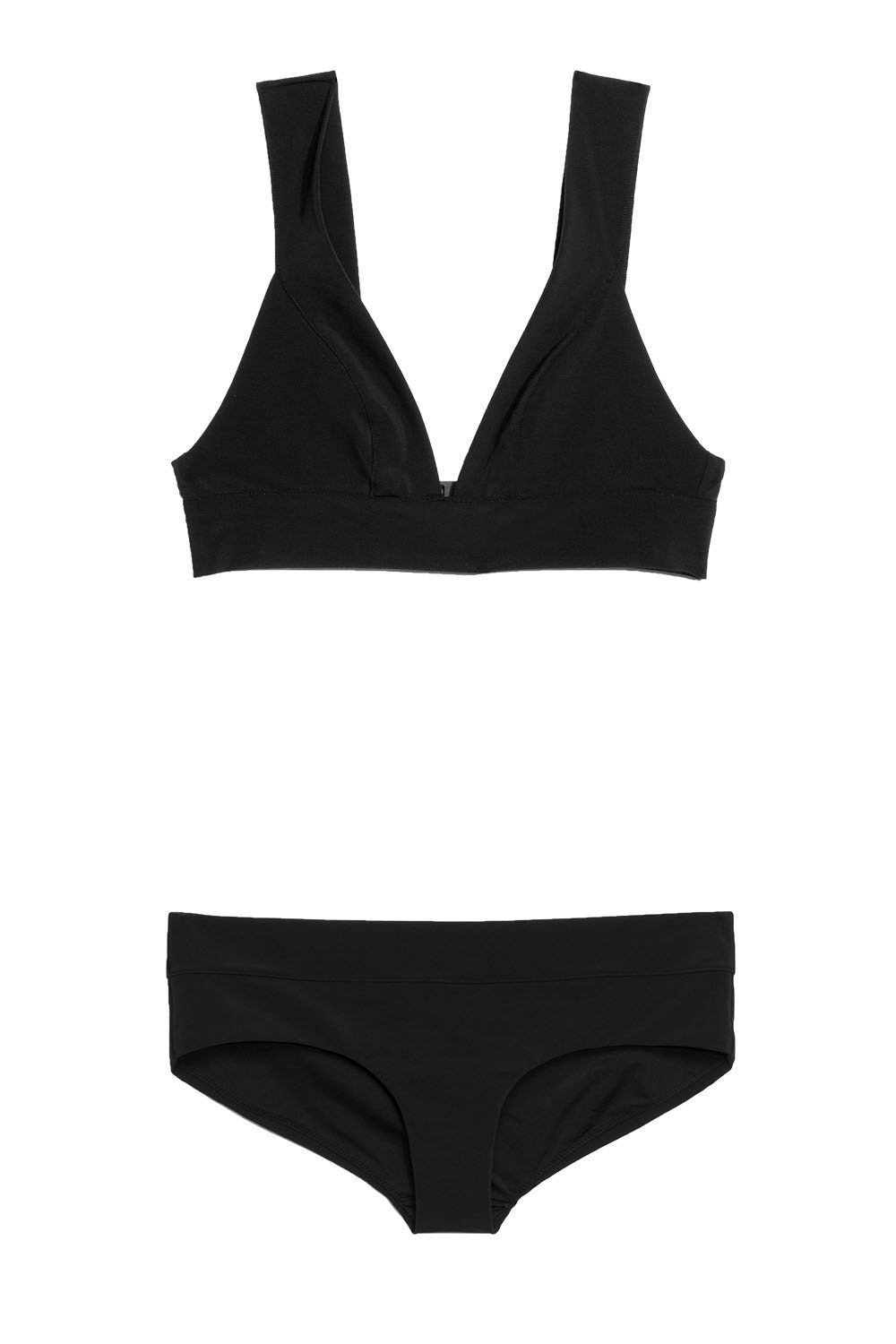 Best for Those Who Love Classics V-Cut Bikini & Other Stories stories.com $29.00 SHOP THE TOP SHOP THE BOTTOM If you're in the market for a new black bikini, opt for thicker-banded style. The top's straps are supportive, which minimizes the chance of a wardrobe malfunction as you splash around the pool with friends.