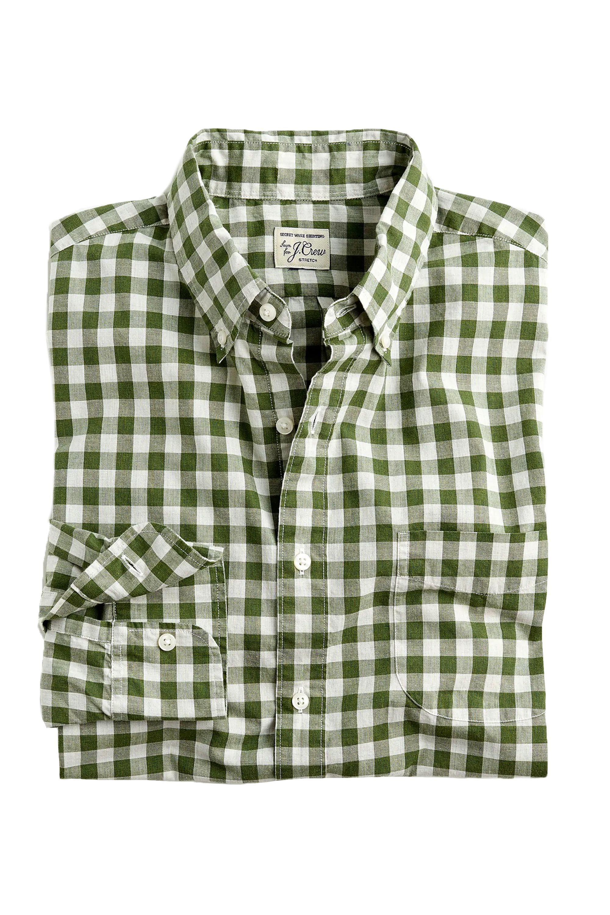 Slim-Stretch Secret Wash shirt J.Crew jcrew.com $45.99 SHOP NOW Your dad might be wary of green gingham, but you know he'll look great in this.