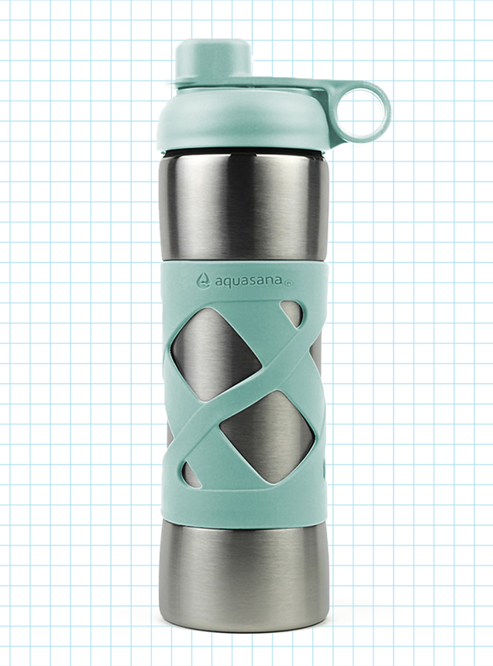 Clean Water Bottle with Filter Aquasana Active 20 Ounce BPA Free Plastic Gray