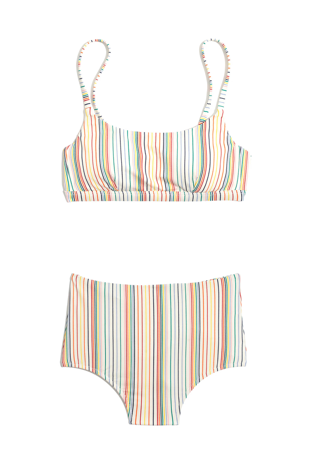 Best for Lounging by the Pool Second Wave Rainbow Stripe Bikini Madewell madewell.com $49.50 SHOP THE TOP SHOP THE BOTTOM This swimsuit is made from recycled plastic so you can feel good knowing your bikini purchase helped the environment. The rainbow stripes add a cheerful attitude to your summer outfit and have a slight retro feel when worn with the matching high-waisted bottoms.