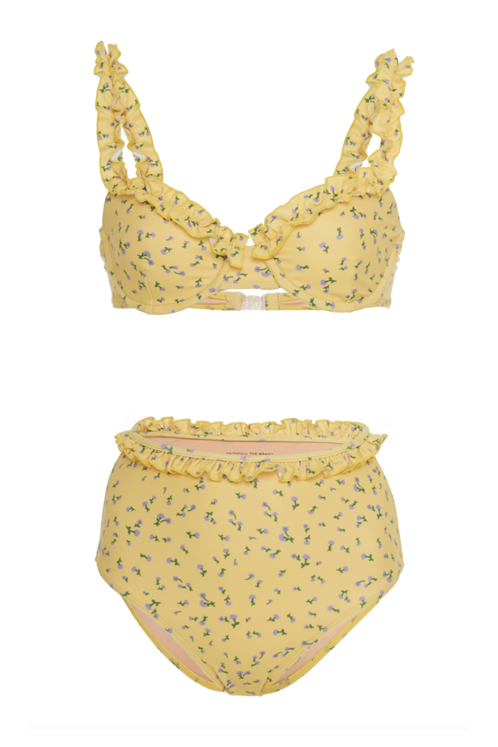 Best for Looking Cute Frida Floral Bikini Set Faithfull The Brand modaoperandi.com $180.00 SHOP IT The floral-loving gal in me appreciates this ultra feminine bikini so much. I love the small print coupled with the ruffle details on the cups, straps, and waistband.