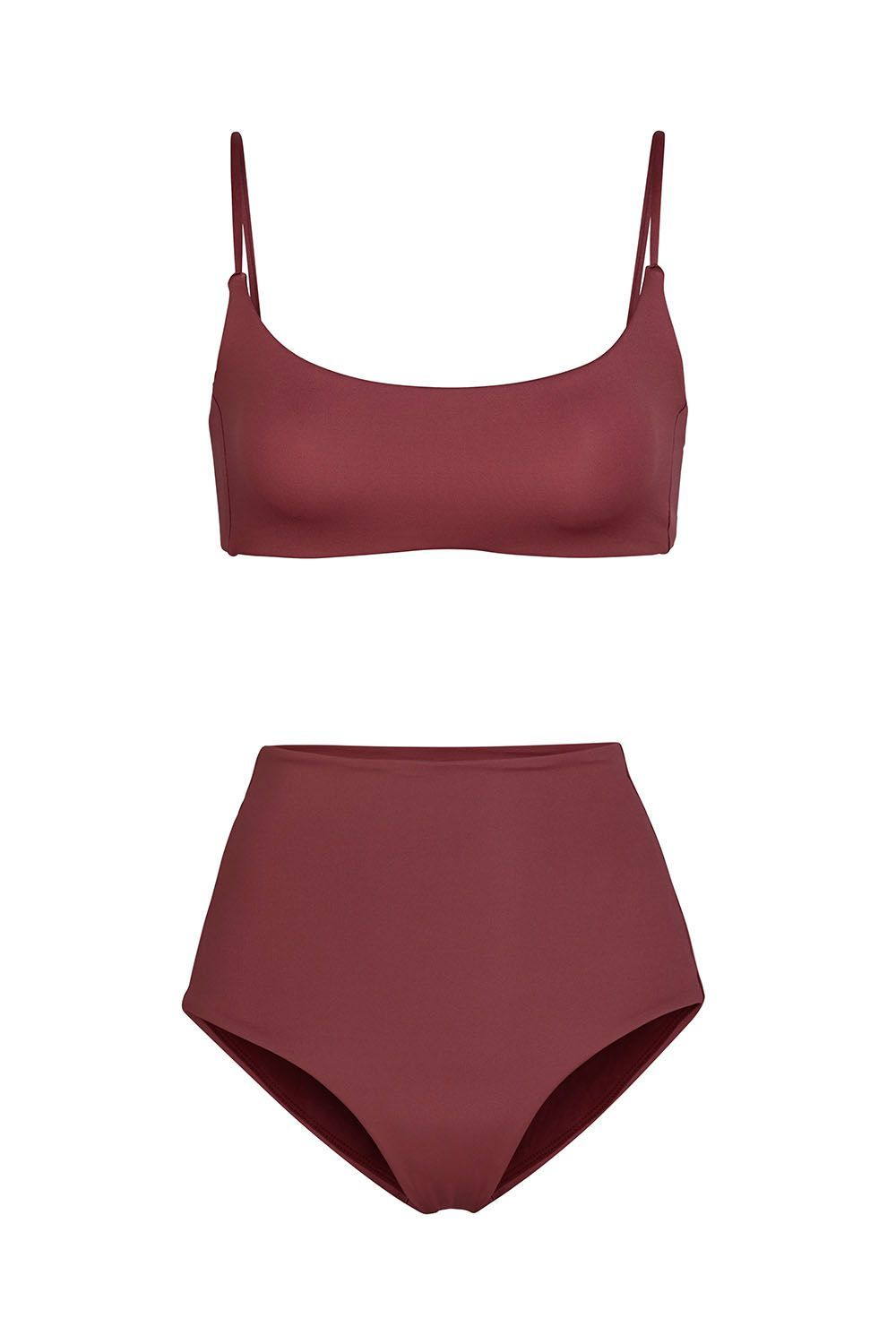 Best for Being Active In Maroon Bikini Left on Friday leftonfriday.com $85.00 SHOP THE TOP SHOP THE BOTTOM Left on Friday swimsuits are silky smooth and made with a snag resistant fabric (for all you active ladies). The plain styles are suited for those who are looking for simple, well-made bikinis that become staples season after season.