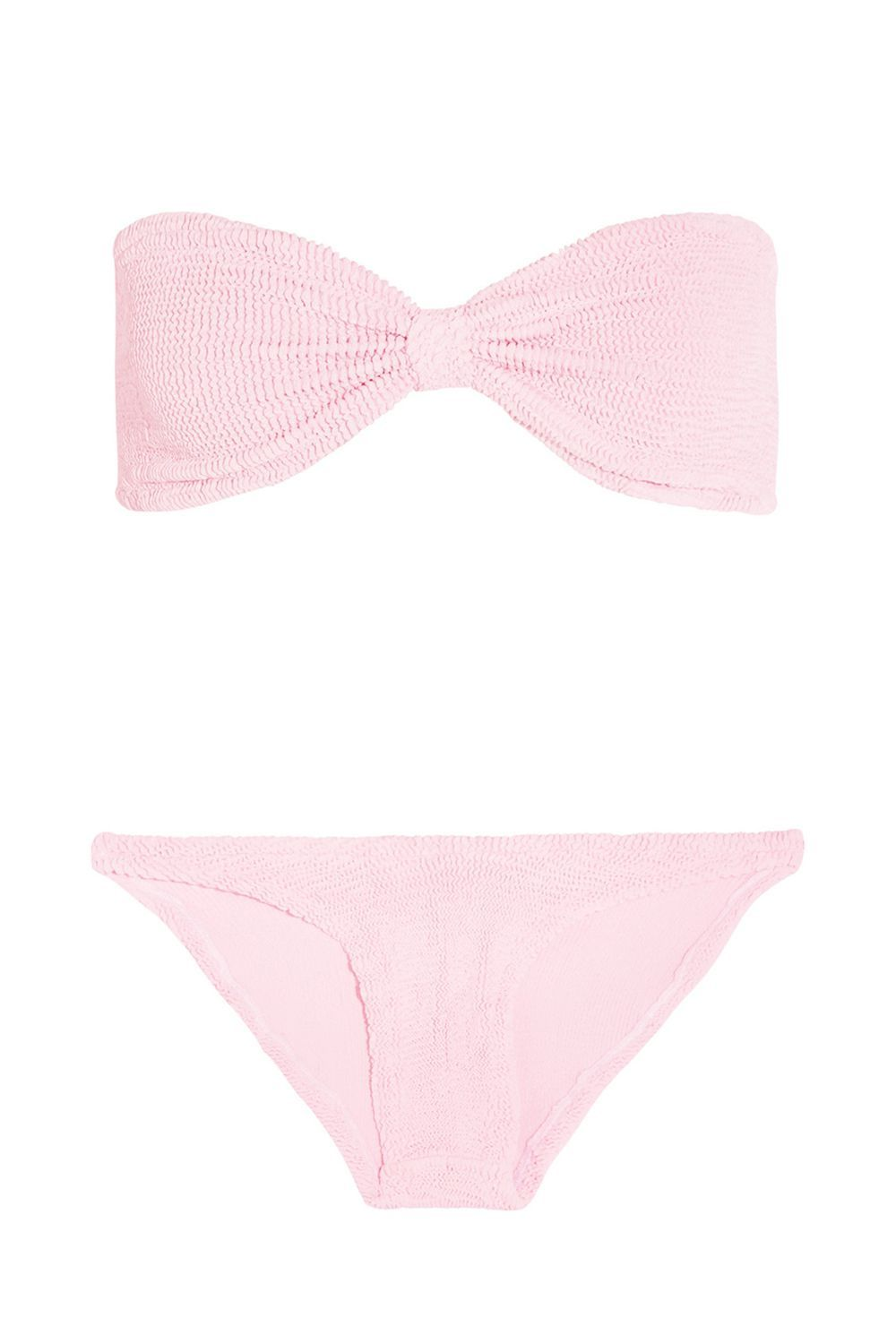 Best for Those Who Love Color Seersucker Bandeau Bikini Hunza G net-a-porter.com $180.00 SHOP IT Both Rosie Huntington-Whiteley and Bella Hadid love Hunza G's seersucker swimsuits and I know why. The stretchy material is full of give and so soft against your skin.