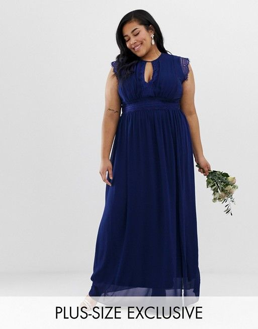 Lace detail maxi bridesmaid dress in navy