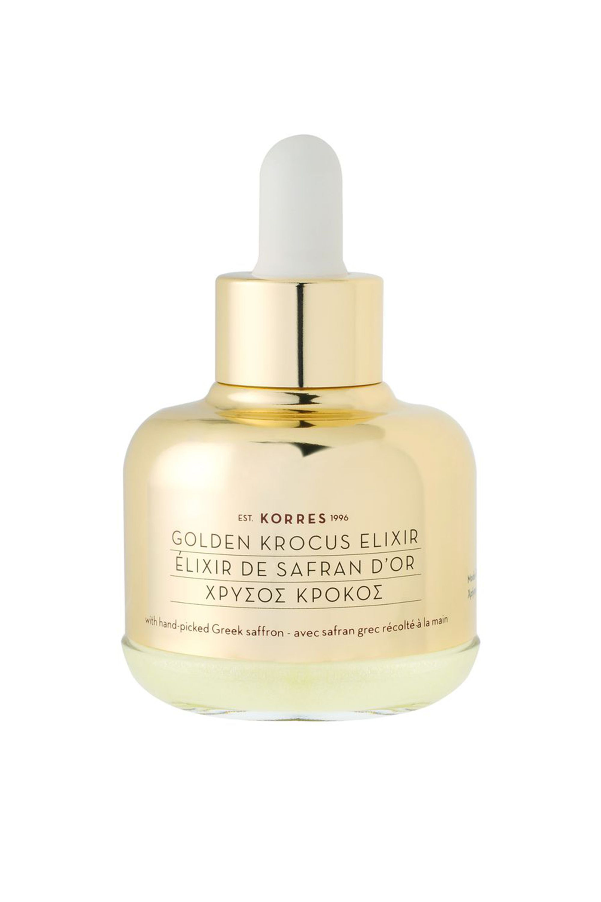 The Gold Standard Golden Krocus Ageless Saffron Elixir Serum Korres sephora.com $98.00 SHOP NOW A field of crocus is bright as the sun and the saffron extract derived from those handpicked blossoms will make your skin look (almost) as radiant. That's why Korres put them in this skin-smoothing serum.