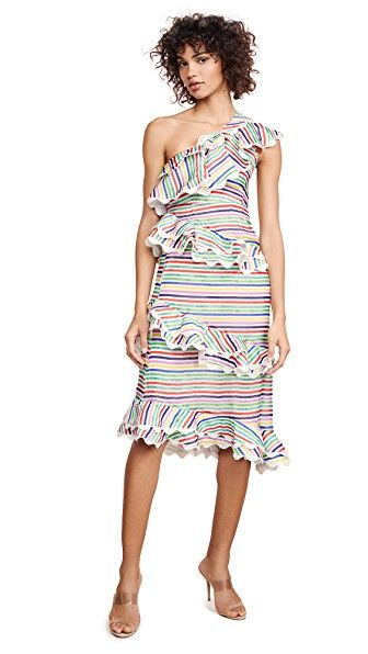 "Best for High Energy Receptions Ruffled Stripe Dress CeliaB shopbop.com $449.00 SHOP IT The colorful lines on this scallop hemmed dress are giving me major 13 Going on 30 vibes. Remember the scene where Jennifer Garner gets everyone dancing to ""Thriller"" and she's wearing the rainbow striped dress?"