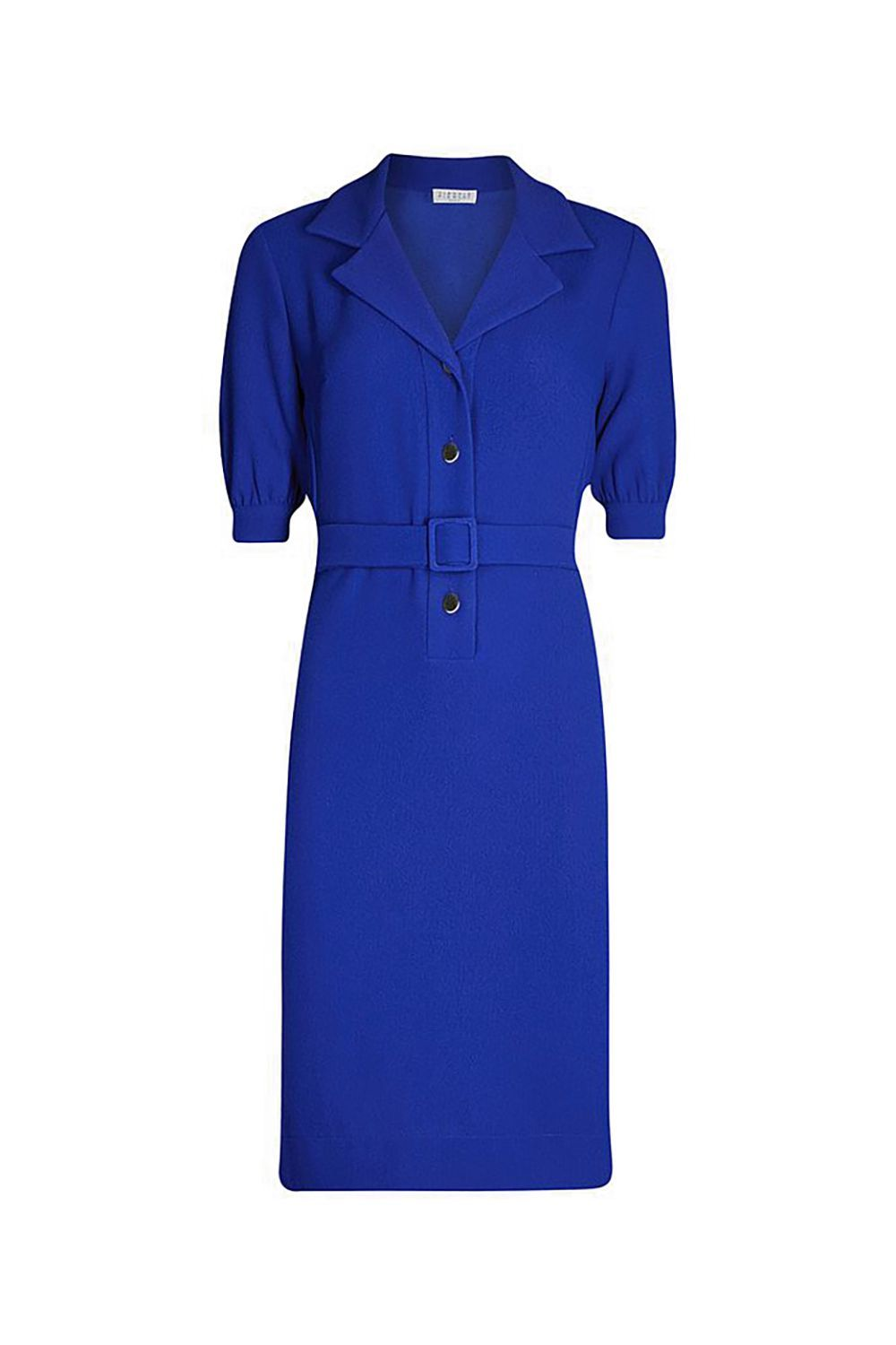 Best for a Colleague's Wedding Cobalt Belted Shirt Dress CLAUDIE PIERLOT selfridges.com $280.00 SHOP IT Channel Kate Middleton in this cobalt blue coat dress that falls just above the knee. The dress is polished and sophisticated thanks to the collar and belt around the waist.
