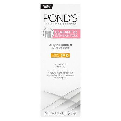 Best for Prevention Pond's Clarant B3 Even Skin Tone Daily Facial Moisturizer with SPF 30 Sunscreen 1.7oz POND'S target.com $9.99 SHOP NOW This daily moisturizer delivers soft, supple skin for a more vibrant glow.