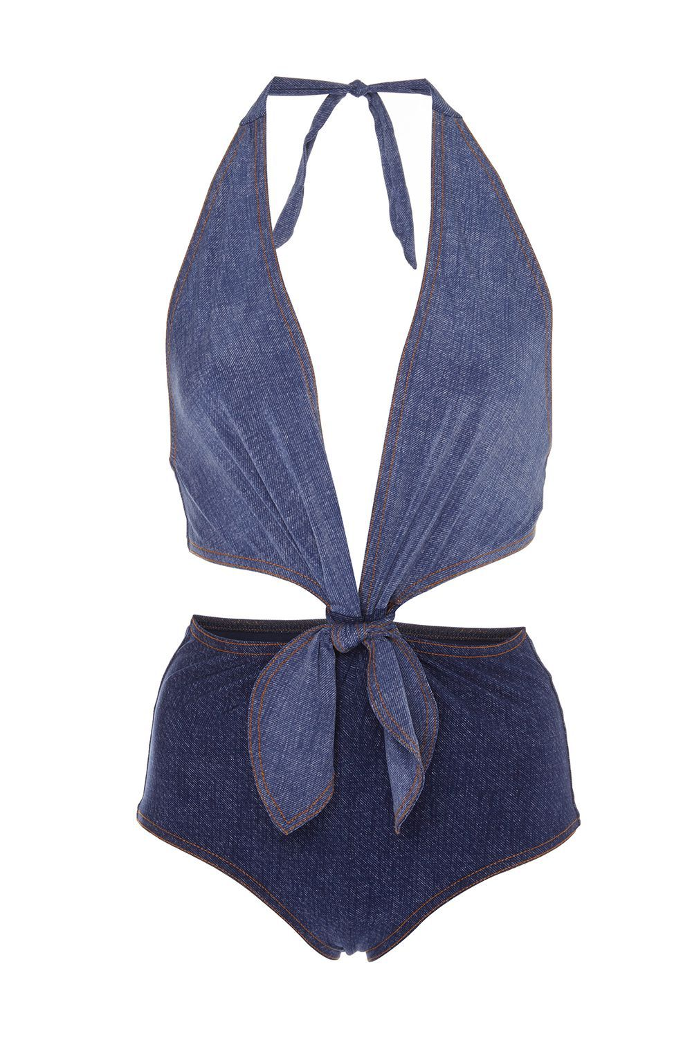 Best Denim One-Piece Louise Cutout Denim Swimsuit Karla Colletto modaoperandi.com $310.00 SHOP IT Blue jeans fans rejoice, I found a cute denim swimsuit. You'll quickly count this as one of your favorites because of the plunging neckline and and cutouts with a sexy front tie fastening.
