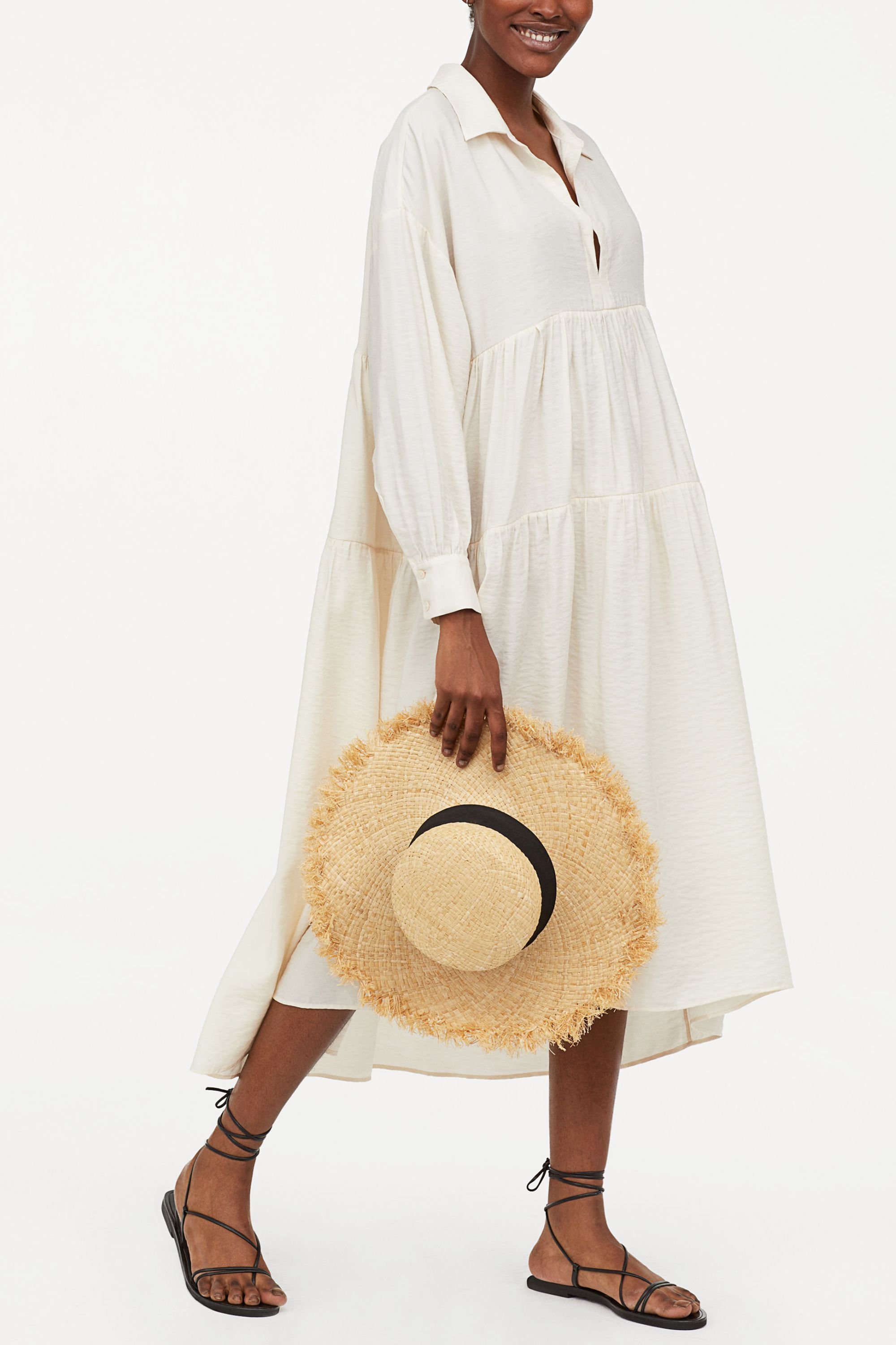 Wide-Cut Dress H&M hm.com $69.99 SHOP NOW A white dress is a summer staple. Paired with lace up sandals and a straw hat, this outfit will never go out of style.