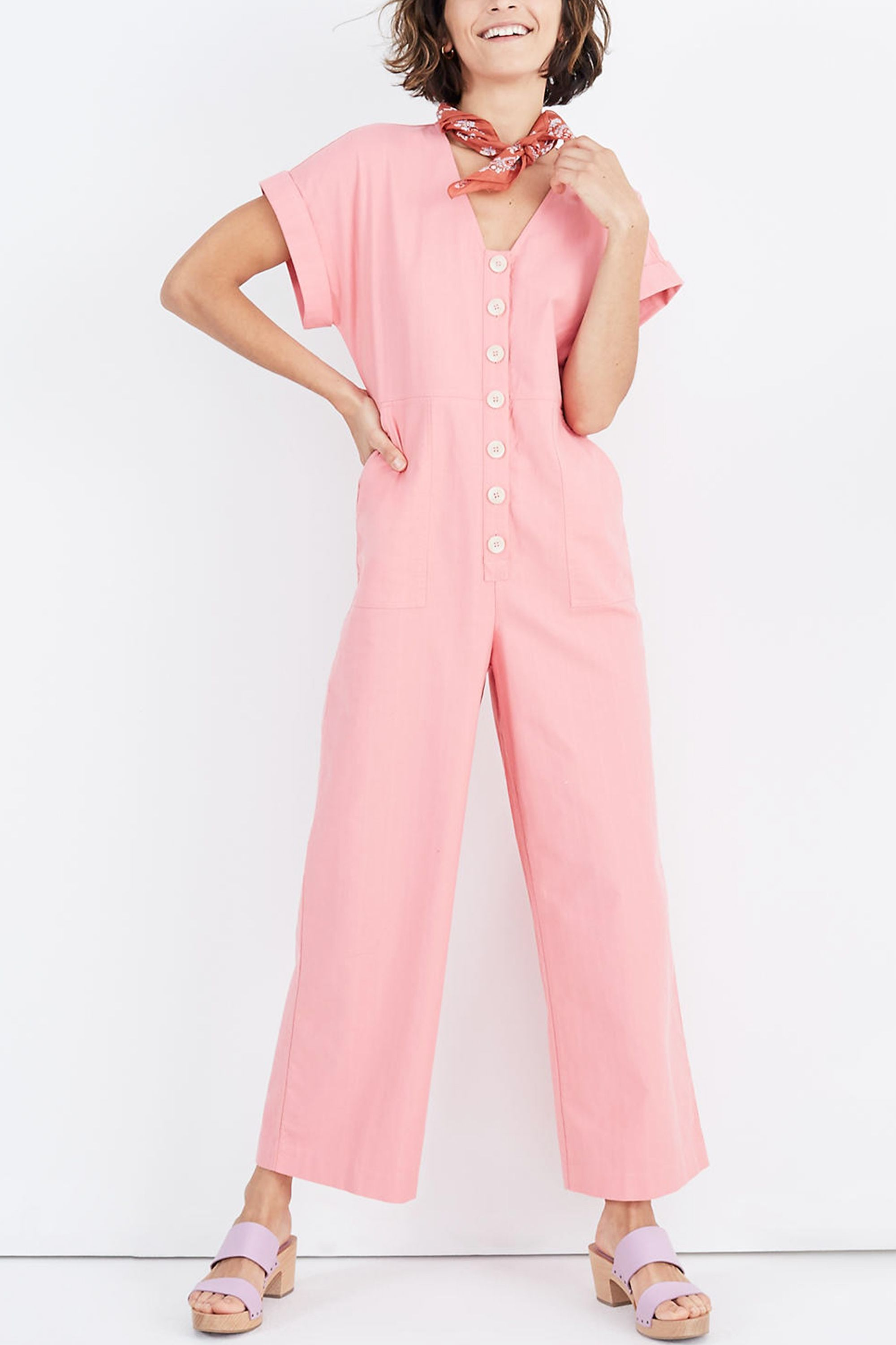 Button-Front Day Jumpsuit Madewell madewell.com $138.00 SHOP NOW We have yet to meet a jumpsuit we don't love, and this bubble-gum pink number is no exception. Style it with complimentary colors like lilac and raspberry for an outfit you'll rewear all summer long.