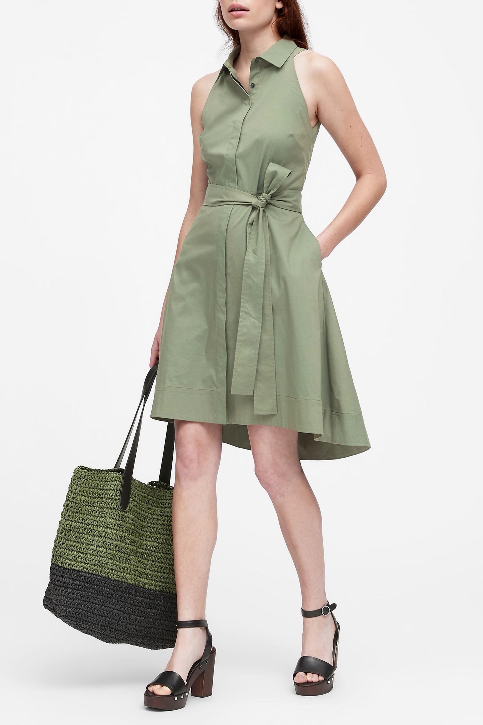 High-Low Shirt Dress Banana Republic bananarepublic.gap.com $98.50 SHOP NOW This is a shirtdress that can be worn from the boardroom to a BBQ on a Summer Friday. Make it work for the weekend with a straw tote and summer clogs.