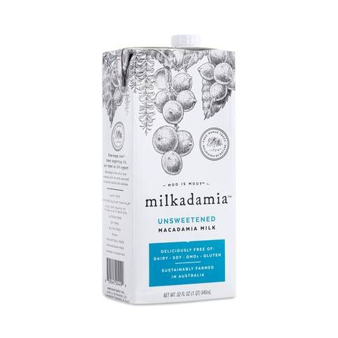 "Macadamia Milk Milkadamia thrivemarket.com $3.99 SHOP NOW A fairly new player in the nut milk game, macadamia nut milk can be used in the same way you'd use other plant-based, non-dairy milk. ""You'll see sunflower lecithin on most labels, which prevents the milk from clumping,"" says Michalczyk—which is a good thing, especially if you're pouring it in your morning coffee."