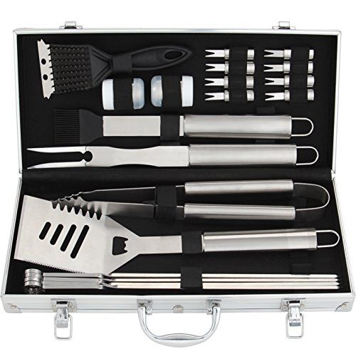 20-piece Stainless Steel BBQ Grill Tool Set