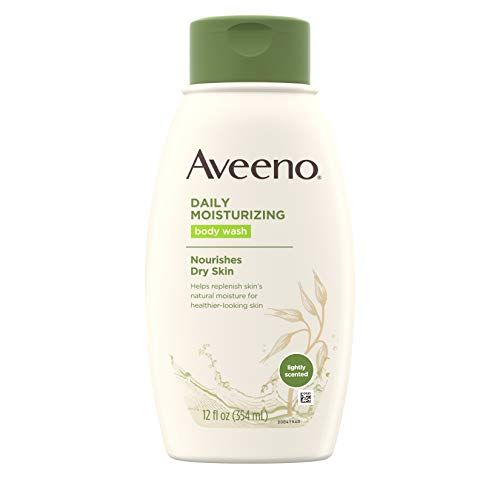 Aveeno Daily Moisturizing Body Wash with Soothing Oat, Creamy Shower Gel,  Soap-Free and Dye-Free, Light Fragrance, 12 fl  oz