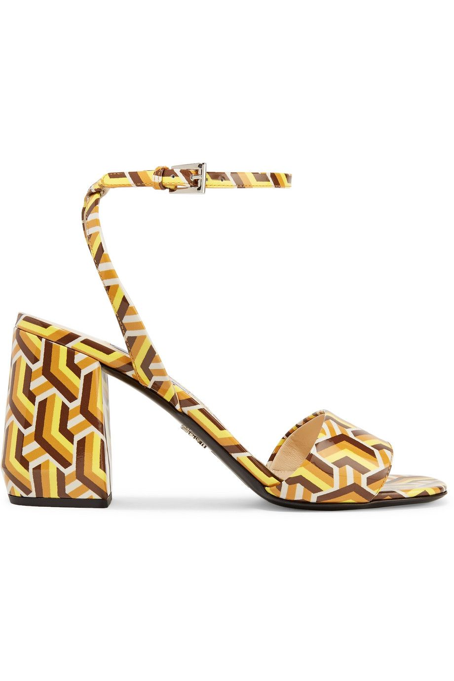 Printed Patent-Leather Sandals Prada net-a-porter.com $750.00 SHOP NOW Delicate ankle straps balance the sturdiness of this retro block heel.