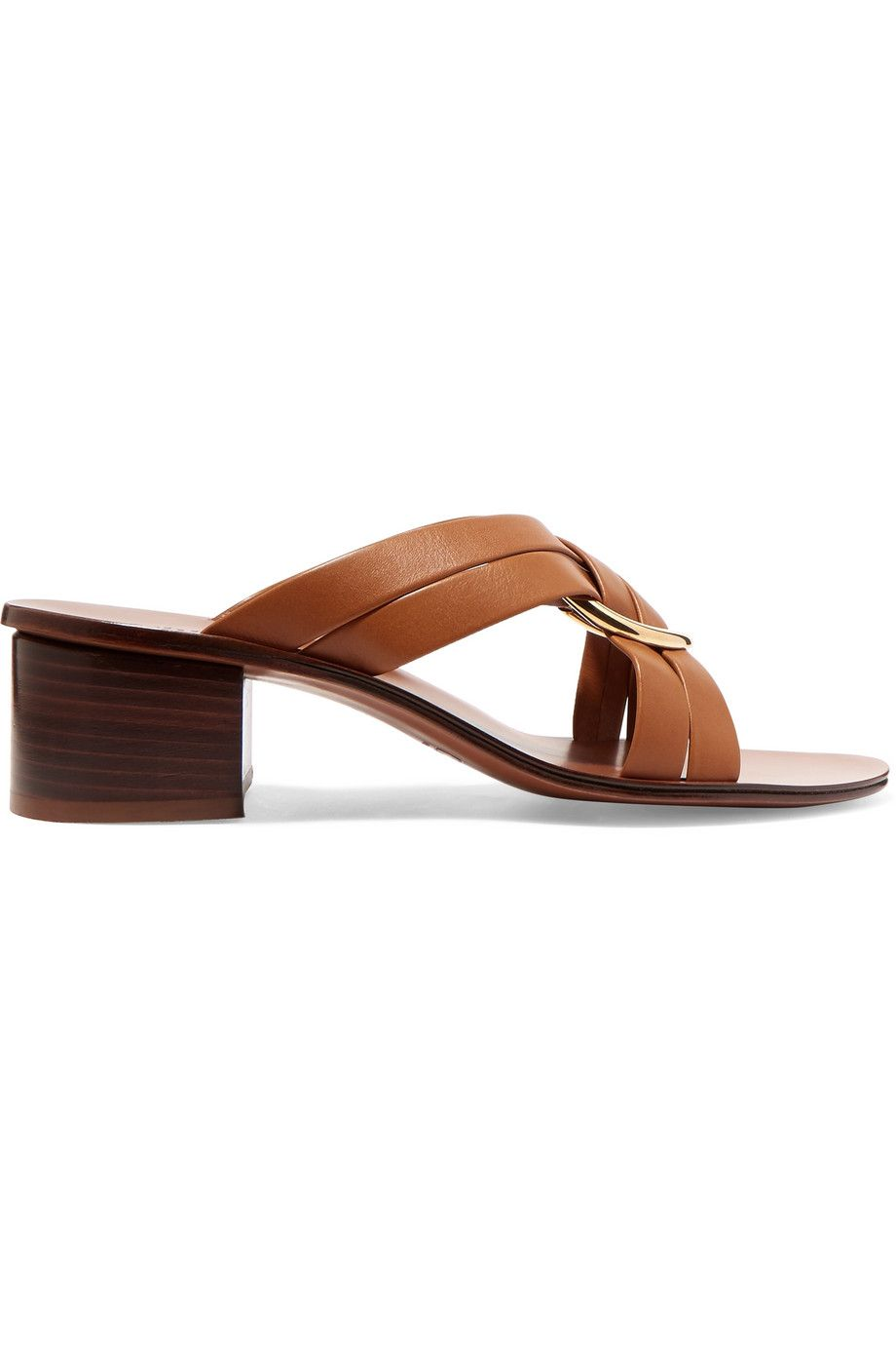 Rony Embellished Leather Mules Chloé net-a-porter.com $690.00 SHOP NOW Crisscross straps and a polished gold ring give this versatile stacked sandal an elevated twist.