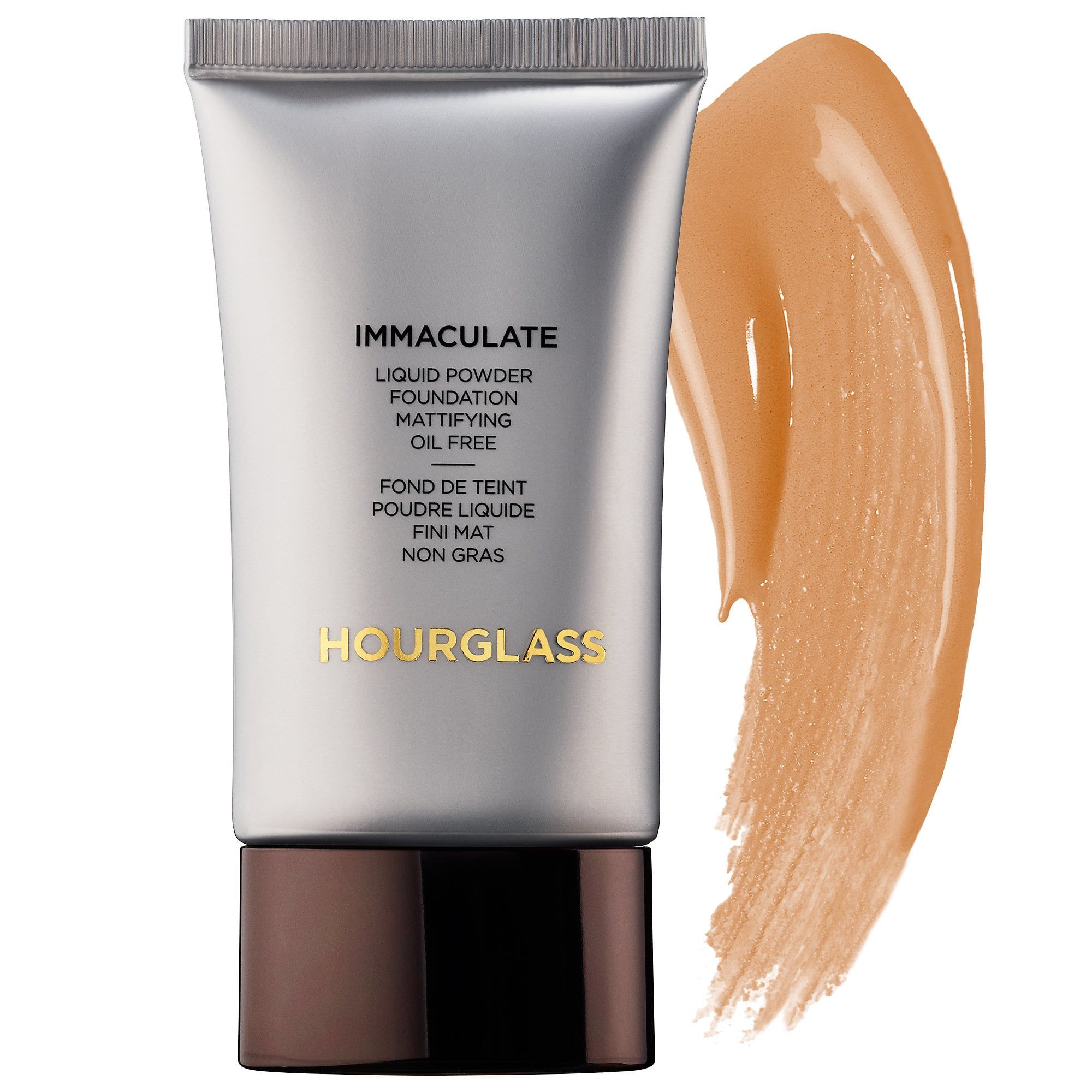For Evening Out Skin Tone Immaculate Liquid Powder Foundation Mattifying Oil Free Hourglass $56.00 SHOP NOW I can go through the whole day sans touch ups using this all-time popular foundation for oily skin. Its innovative liquid-to-powder formula not only evens out spots, but also reportedly improves acne scars, pore size, and decreases oil production altogether.